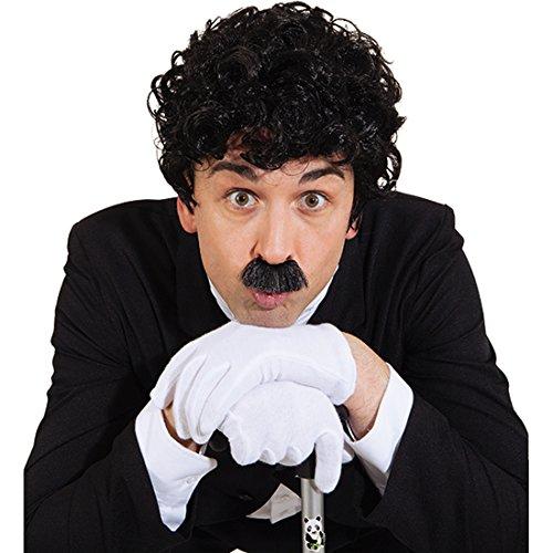 Charlie Chaplin Set 20er Jahre Bart und Perücke schwarz Filmstar Schnurrbart und Schnauzer Prominenten Moustache und Haare 30er Jahre Herren Set Oberlippenbart mit Herrenperücke Karnevalskostüme Accessoires