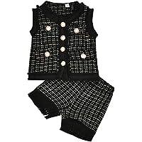 Tianhaik 2 unids/Lote niños bebé niña Cuadros Retro Trajes Chaqueta sin Mangas Abrigo + Pantalones Cortos