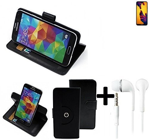 K-S-Trade® Case Schutz Hülle für Huawei P20 Lite Dual-SIM + Earphones Handyhülle Flipcase Smartphone Cover Handy Schutz Tasche Walletcase schwarz (1x)