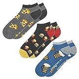 soxo Herren 3 Paar Bunte Sneaker Socken   Größe 40-45   Witzige Motivsocken aus Baumwolle (Pizza, Burger & Pommes, Bier)