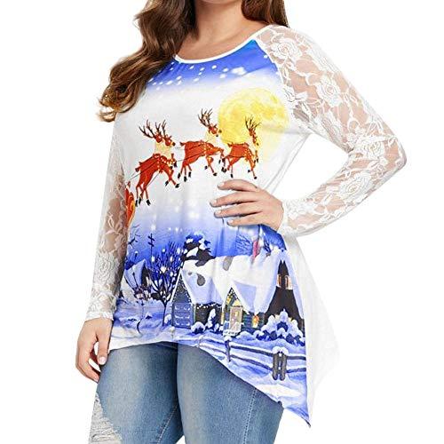 Ghemdilmn Weihnachten Shirt Bluse Spitze Druck Langarm Damen Santa Rentier Christmas Festlich Abendkleider Brautkleid Cocktailkleid Dress Frauen