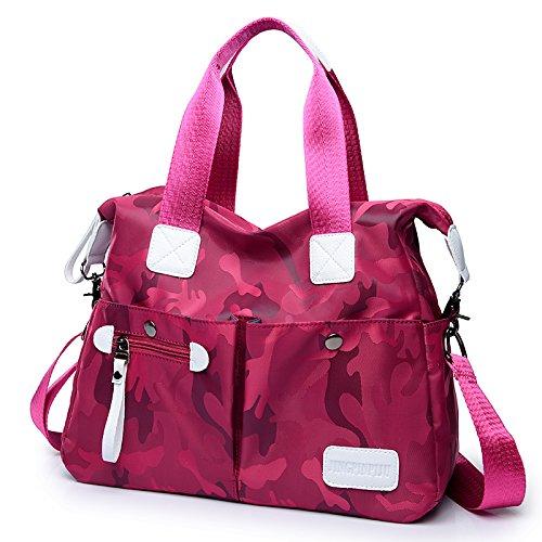 AoBao primavera ed estate nuova donna pacchetto, la signora Han Borsa da viaggio Nylon oxford tessuto borsa di tela a mano spalla bisogno in tutta ampio pacchetto, caffè-fiori colorati - Medio In camuffamento rosso - Medio