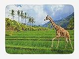 JIEKEIO Nature Bath Mat, The Giraffe Goes on The Grass Against Mountain Tropical Landscape, Plush Bathroom Decor Mat with Non Slip Backing, 23.6 W X 15.7 W inches, Fern Green Baby Blue Cinnamon