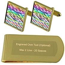 Tabla de colores Pantone de tono Oro gemelos Money Clip grabado Set de regalo