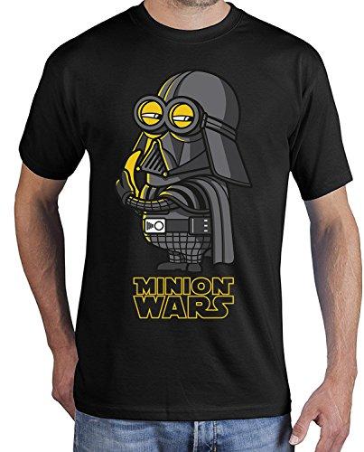 adrotes Herren T-Shirt Minion Wars Banana Vader Parody ADSW10002 (M, schwarz)