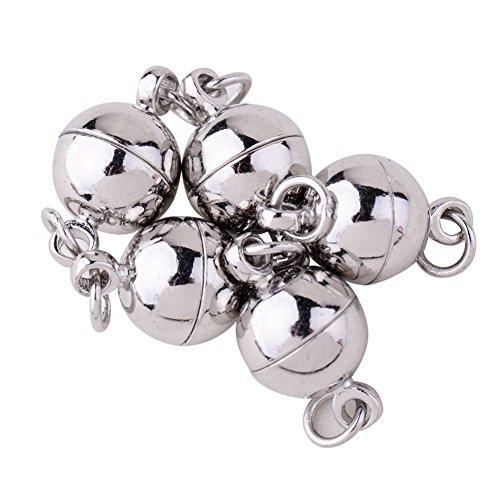 PandaHall Elite Schmuck machen Anhaenger Nicklefrei runde Messing magnetisch Magnetverschluesse 14x8mm Platinum 5 - Magnetische Anhänger