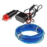 VANKER 5M flexible del LED luz de neón del resplandor de la tira de la cuerda de alambre del tubo + 12V Inversor para el coche--Azul