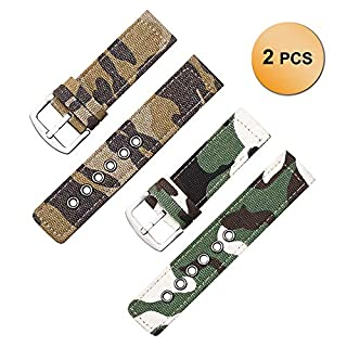 2 Pack Army Green and Brown Camouflage Canvas Watch Bands Nylon Watch Strap Watch Belt 22mm