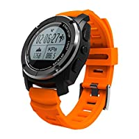 QQA Smart Watch Built-in GPS Air Pressure/Temperature/Altitude/Heart Rate Monitor Waterproof Digital Sports Watch for Outdoor Sports, Yellow