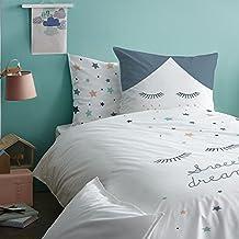 Estrellas niña Juego de cama ☆ Sweet Dreams · Reversible Diseño con divertidas estrellas & Estrellas/wimpern · Mint, Gris, Color blanco, apricot · 2piezas–Almohada 80x 80+ Funda Nórdica 135x 200cm–100% algodón
