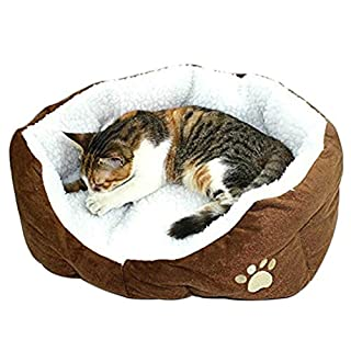 Aikesi Pet Bed Round or Oval Shape Dimple Nesting Dog Cat Basket Soft Cozy Bag Pad Cave for Small Cats and Dogs 1Pcs (Coffee)