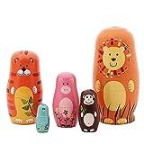 Gemischt Tierthema Stapeln Spielzeug Glänzend Russischen Puppe Handgefertigt Spielzeug aus Holz Pinguin Affe Eule Hähnchen für Kinder Kinderzimmer Decor (Set von 5)