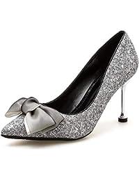 KOKQSX-Tacones Altos Delgados Tacones Alto 8cm Arco Cristal Zapatos de Boda  Cabezas Puntiagudas Banquete 0eecc94f7182