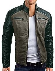 Grin&Bear coup slim veste en cuir faux homme cardigan pull, AK21
