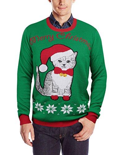 uideazone hässlich Weihnachten Xmas Pullover Pullover lässig lustige Katze Pullover Shirts Grün L
