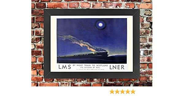 TX366 Vintage Night Train Scotland LNER LMS Travel Framed Railway Poster A3//A4