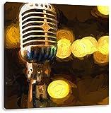 Mikrofon Rockabilly Retro Leinwandbild Kunstdruck Keilrahmen Motive Poster, Format: 70x70 auf Leinwand, XXL riesige Bilder fertig gerahmt mit Keilrahmen, Kunstdruck auf Wandbild mit Rahmen, günstiger als Gemälde oder Ölbild, kein Poster oder Plakat