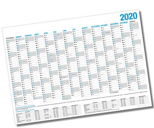 XL Wandkalender 2020 / Kalender Jahresplaner - 14 Monate Jahreskalender + Gratis Urlaubsplaner 2020 (86 x 59 cm)