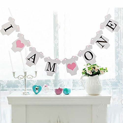 Rzctukltd I Am One 1st Birthday Party Bunting Banner Girl Baby Shower Decor Garland Pink