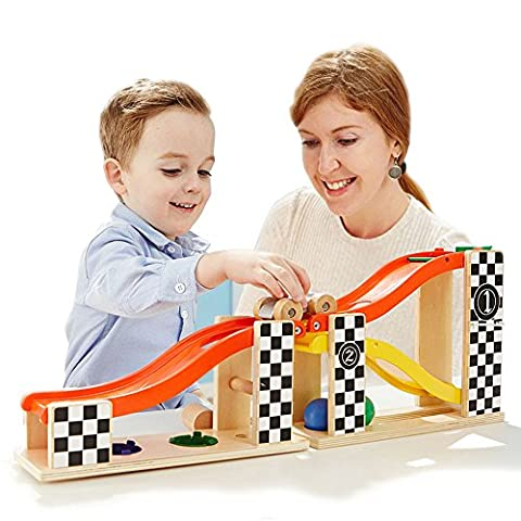 TOP BRIGHT Child Kid Ramp Racer Wooden Toy Knock Hammering Ball Two-in-one Slide Rails Car Toys