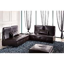 Wohnen-Luxus Designer Lederfaserstoff Garnitur Laura Braun Sofa Couchtisch Bettfunktion Ottomane Bett 9 in 1 Eckcouch Ecksofa Sofa Couch