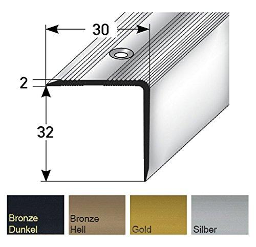 Aluminium Treppenwinkel-Profil - 135cm, 32x30mm, Rutschhemmend Robust Leichte Montage   Treppenkanten-Profil, Treppenstufen-Profil aus Alu   Selbstklebendes Stufenkanten-Profil