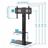 Fitueyes Universal Cantilever Glass TV Stand with Swivel Bracket for 32 to 65 inch LED LCD TV,Black TT207001MBUK