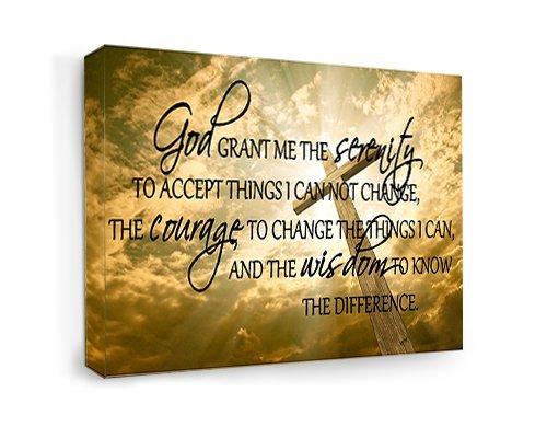 Leinwand gerahmt God Grant Me the Serenity To Accept Dinge, die ich nicht ändern kann, den Mut zu ändern, die Dinge, die ich kann, und die Weisheit zu wissen, der Unterschied. (55,9cm Breite x 30,5cm Höhe) Cute Art Wand Sprüche Gebet, das Kirche Jesus Pray Stärke