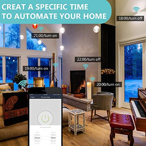 Houzetek Enchufe Wifi Inteligente con APP soporte Alexa/Google Home,  Enchufe Programable Wifi IFTTT de Control Remoto por Voz,  Domótica Enchufe Wifi para Hogar Inteligente (2 Packs)