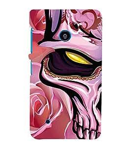 For Nokia Lumia 530 :: Nokia Lumia 530 RM 1017 :: Nokia Lumia 530 Dual SIM :: Microsoft Lumia 530 Dual dangerous skull, skull, purple background, pattern Designer Printed High Quality Smooth Matte Protective Mobile Case Back Pouch Cover by APEX
