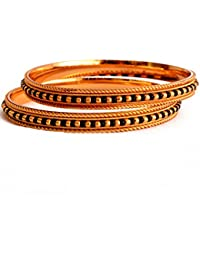 Radha's Creations Traditional Golden Black Bead One Gram Gold Plated Pair Of Bangles No-2 For Women And Girls