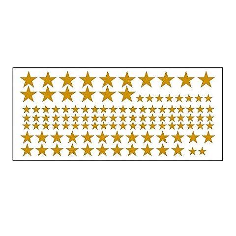 HuntGold Amovible Créatif 110Pcs Étoile Autocollants Muraux Décoration de la Fenêtre Maison - Or
