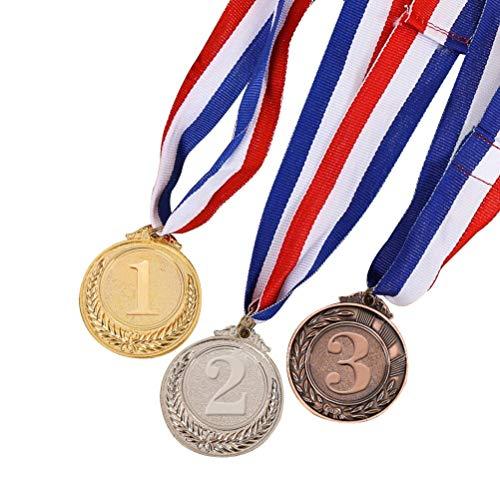 Toyvian Kinder Medaillen Goldmedaille mit Halsband Spielzeug Kunststoff für Sportwettkämpfe Wettbewerbe Party Kindergeburtstag Geschenk (Goldene Silber Bronze) 3 Stücke