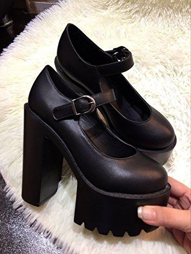 LvYuan Frauen Fersen / Lackleder / Büro & Karriere / Plattform Chunky Ferse / Mode / Walking Gürtelschnalle Schuhe Black
