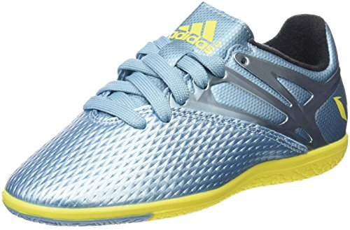 adidas Messi 10.3 Indoor Junior, Jungen Sneakers, Kinder, Messi 10.3 Indoor Junior, Blau/Silber / Gelb/Schwarz, 28