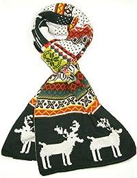 Lovarzi Winter Schal für Herren und Damen - Rentier-Schneeflocke muster Weihnachtsschal