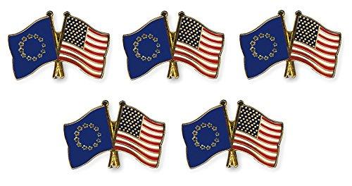 Yantec Freundschaftspin 5er Pack Europa USA Pin Anstecknadel Doppelflaggenpin