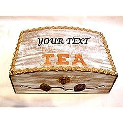 Holz-Tee-Box, Tee-Organizer, Holz Teebeutel Organizer, Teesieb, Holz Tee Box, Customized Tee-Kasten, Personalisierte Tee, Geschenk-Mom