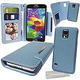 Stylebitz / étui portefeuille en cuir PU avec coque rigide détachable et magnétique pour Samsung Galaxy S5 / SV / i9600 + tissu de nettoyage (bleu)