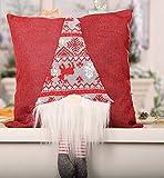 ZYJT La Navidad Divertida Santa Claus Funda De Almohada 38 * 38 Cm 3D Que Cuelgan Las Piernas De La Muñeca Cojín Silla Decorativo Banda Funda De Almohada (Color : Red, Size : 38 * 38cm)