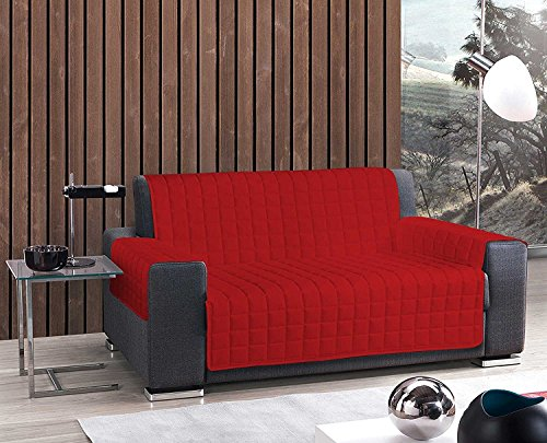 Copridivano trapuntato made in italy scegli tra 1,2,3,4 posti salva divano copripoltrona tinta unita 6 colori disponibili - tre posti rosso