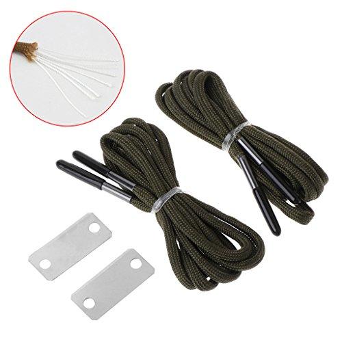 Manyo Notfall-Schnürsenkel für Outdoor-Survival, mit Feuer-Starter Scrapper 550 Paracord Schnürsenkel Kit, 130cm lang, 3 Farben zur Auswahl. (Grün)