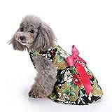kkuoyuann Floral Hundegeschirr Kleid Haustier Kleidung D-Ring Weste Shirts Sommerkleid schwarz (Size : S)