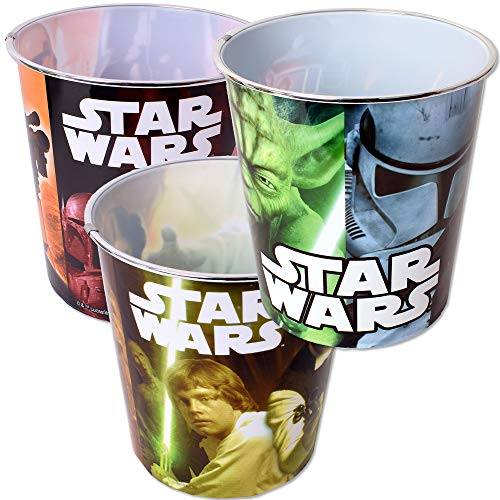 TE-Trend 3 Stück Star Wars Motiv Papierkorb Abfalleimer Mülleimer Kids Kinder Kinderzimmer Abfallkorb 5L Kunststoff Mehrfarbig