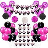 Minnie Mouse Tema Party Decorations Set Minnie Ears Ghirlanda di carta a nido d'ape Palline e palloncini per la festa di compleanno della ragazza