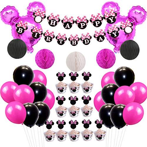 JOYMEMO Minnie Mouse Party-Deko-Set Minnie Ears Girlande-Papierwabenkugeln und -Ballons für die Geburtstagsfeier der Mädchen