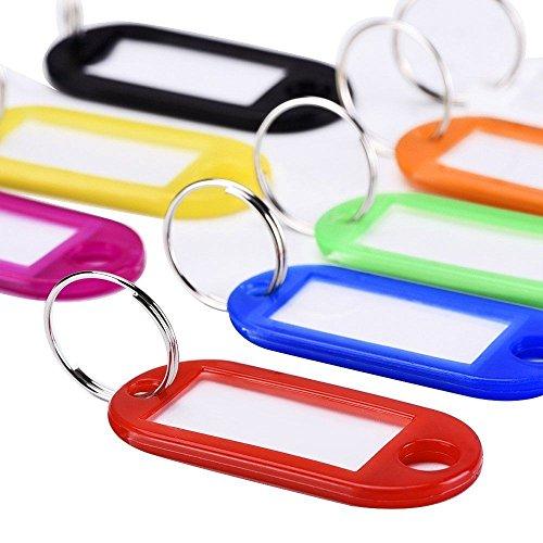 XMOWES etiqueta cubierta de teclado, tarjeta de identificación y dividir llave de plástico anillo de equipaje etiqueta de identificación 30Pcs
