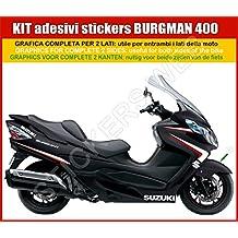 1 juego de adhesivos para Suzuki Burgman 400 de carena negra, gráfica completa (personalizable
