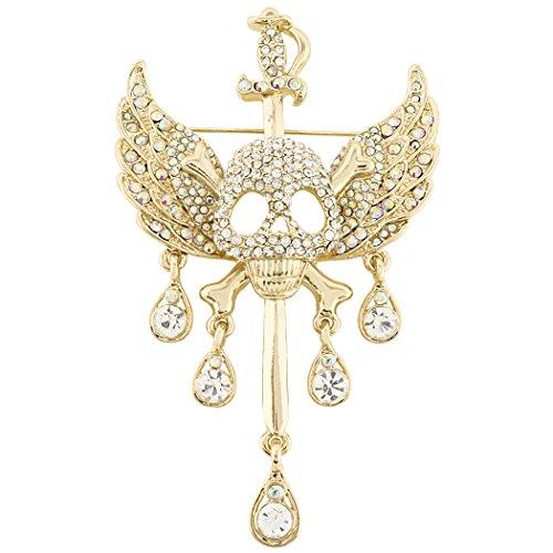 scher Kristall Halloween Schädel Knochen Winkel Flügel Teardrop Brosche Anhänger Klar Gold-Ton ()
