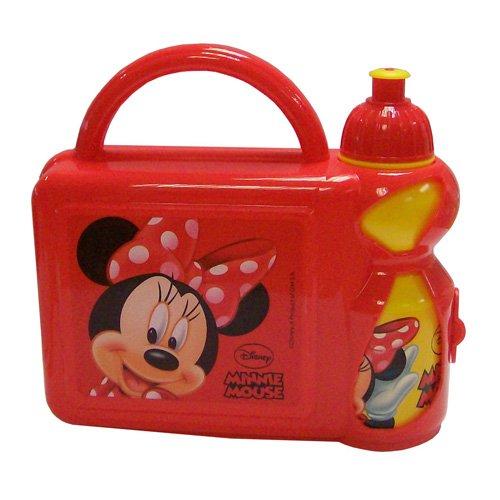 Lunchbox Boîte pour repas à emporter design Minnie Mouse avec gourde rouge et jaune